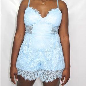 Lacey Blue Lace Romper